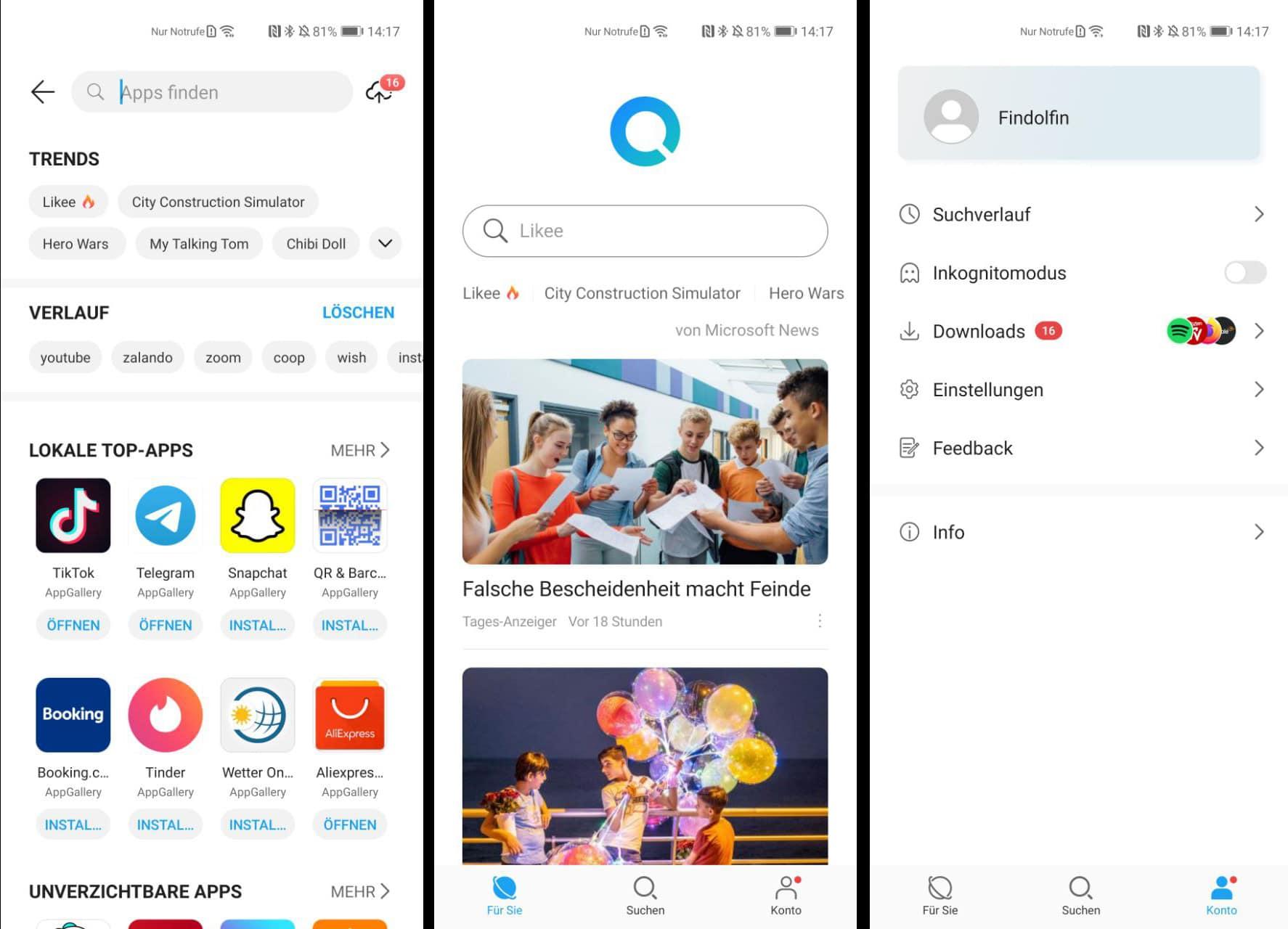 Huawei Petal Search: Übersicht der Benutzeroberfläche.