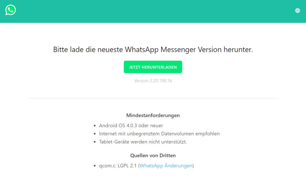WhatsApp als APK-Datei von der offiziellen Website herunterladen.