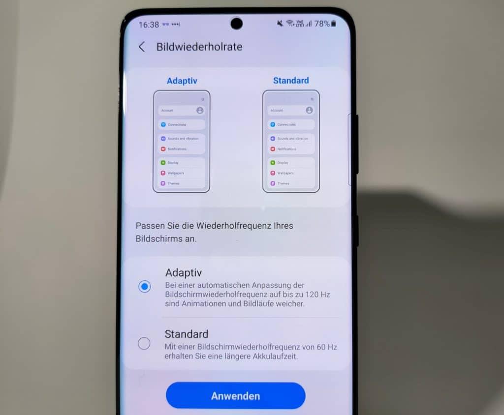 Samsung Galaxy S21 Ultra Test Bildwiederholungsrate