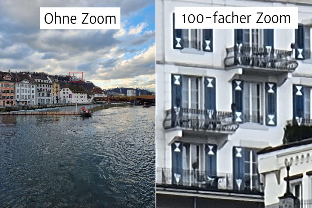 Galaxy S21 Ultra 100-fach Zoom Beispielfotos Hotel Gütsch Luzern