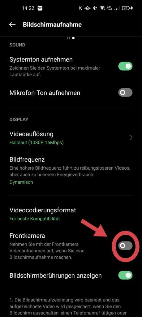 Oppo Find X3 Pro Bildschirmaufzeichnung Frontkamera