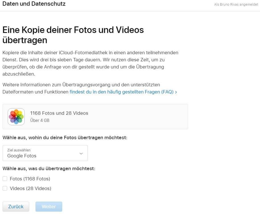 Exportfunktion von iCloud zu Google Fotos