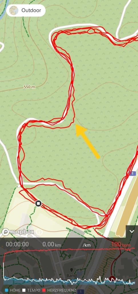 GPS-Aufzeichnung im Wald