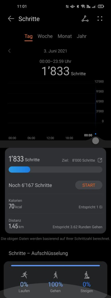 Schritte innerhalb der Huawei Health-App