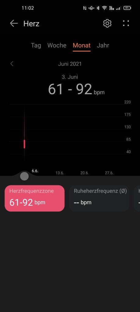 Herzfrequenzanzeige in Huawei Health