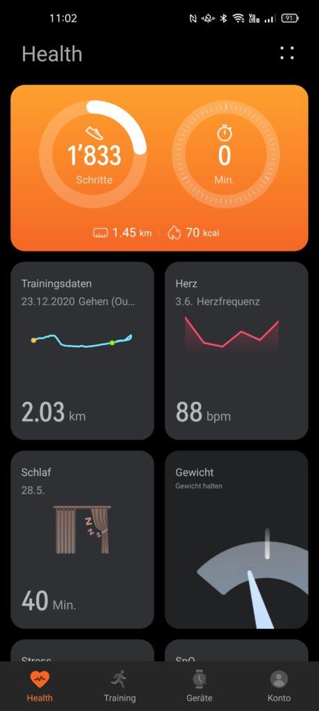 Übersicht innerhalb der Huawei Health-App