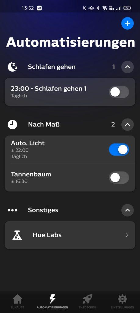 Neue Philips Hue-App mit Automatisierung-Tab