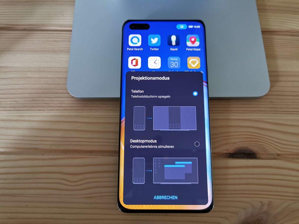 Huawei MateView im Test: Desktopmodus mit dem Huawei P40 Pro.