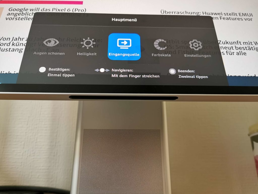 Huawei MateView im Test: Touchsteuerung.