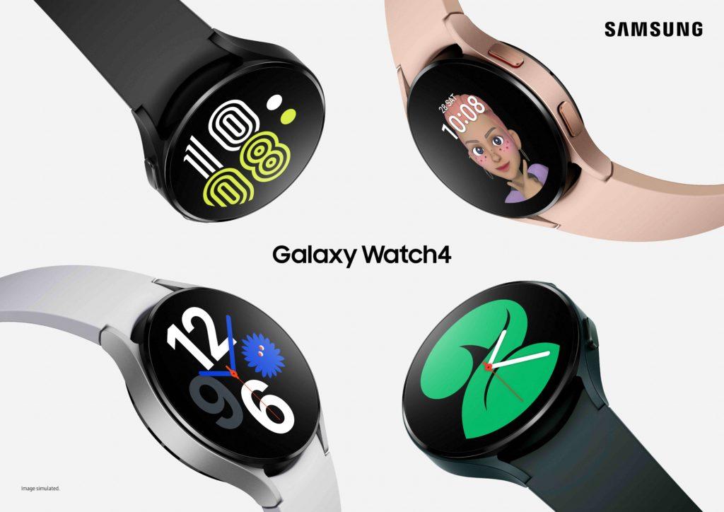 Samsung Galaxy Watch4 in vier verschiedenen Farben.