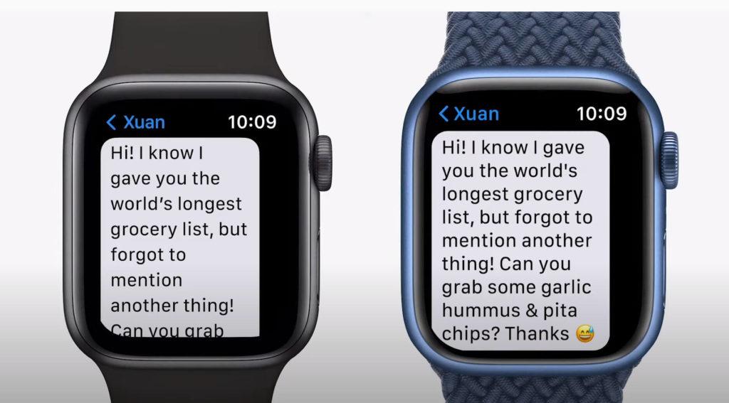 Apple Watch 7: Grösseres Display zeigt 50% mehr Text an.