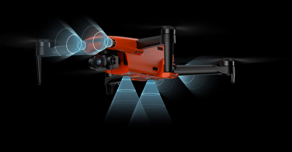 Autel Evo Nano Drohne mit Hinderniserkennung auf drei Seiten.
